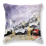 Red Car Maserati 250 France Gp Throw Pillow by Yuriy  Shevchuk