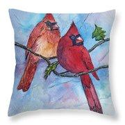Red Cardinals Throw Pillow