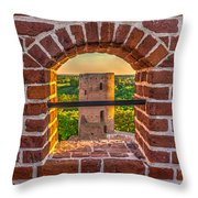 Red Castle Window View Throw Pillow by