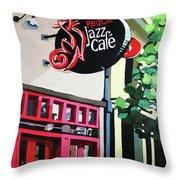 Red Cat Jazz Cafe Throw Pillow