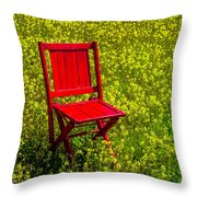 Red Chair Amoung Wildflowers Throw Pillow