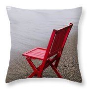 Red Chair On The Beach Throw Pillow