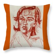 Red Charcoal Sketch 6481 Throw Pillow