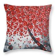 Red Cherry Tree Throw Pillow