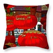 Red Chinese Lanterns Throw Pillow