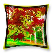 Red Chinese Maple Leaf's Throw Pillow