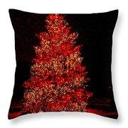 Red Christmas Tree Throw Pillow