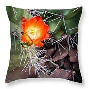 Red Claretcup Cactus Throw Pillow