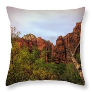 Red Cliffs Mountains Zion National Park Utah Usa Throw Pillow