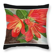 Red Clivias - Watercolor Throw Pillow