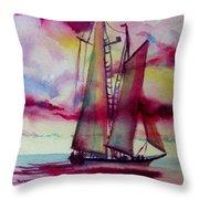 Red Cloud Sail Throw Pillow