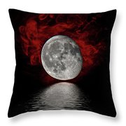 Red Cloud With Moon Over Water Throw Pillow