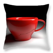 Red Coffee Cup Throw Pillow