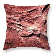 Red Colored Limestone With Grooves Throw Pillow