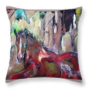 Red Colt Throw Pillow