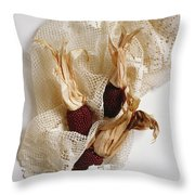 Red Corn On The Cob And Lace Throw Pillow