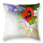 Red Corn Poppy Throw Pillow