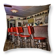 Red Cottage Restaurant Throw Pillow