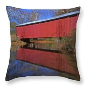 Red Covered Bridge And Reflection Throw Pillow