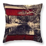 Red Covered Bridge In Winter Throw Pillow