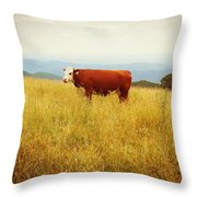 Red Cow On The Blue Ridge Throw Pillow