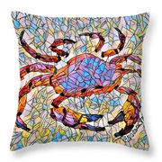 Red Crab Stained Glass Throw Pillow