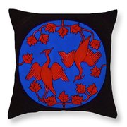 Red Cranes Throw Pillow