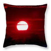 Red Cross Levee Sunset Throw Pillow