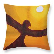 Red Crow Repulsing The Monkey Original Painting Throw Pillow