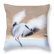 Red Crowned Crane In Kushiro Throw Pillow