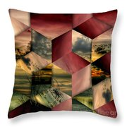 Red Cube Textures Throw Pillow
