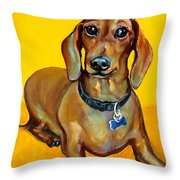 Red Dachshund - Tigger Smiles Throw Pillow