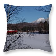 Red Dam And Percy Peaks In Winter Throw Pillow