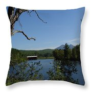 Red Dam In Spring Throw Pillow