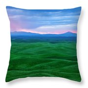 Red Dawn Over The Palouse Throw Pillow