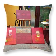 Red Day In The Studio Throw Pillow