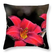 Red Day Lilies Throw Pillow