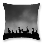 Red Deer On The Hill Throw Pillow