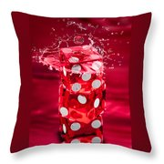 Red Dice Splash Throw Pillow