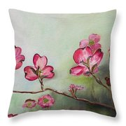 Red Dogwood - Cherokee - Springtime Throw Pillow