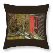 Red Door At The Grist Mill In Fall 2017  Throw Pillow