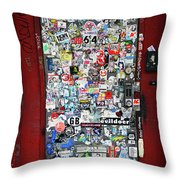 Red Doorway With Stickers Throw Pillow