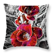 Red Double Lily Throw Pillow
