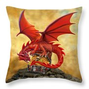 Red Dragon's Treasure Chest Throw Pillow