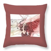 A Red Dress And A  Biplane Throw Pillow