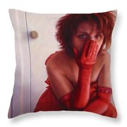 Red Dress Throw Pillow by James W Johnson