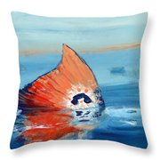 Red Drum Tailing Throw Pillow