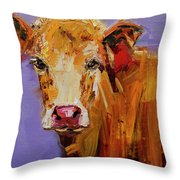 Red Earring Cow Throw Pillow