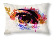 Red Eye Watercolor Throw Pillow