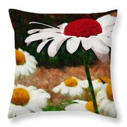 Red Eyed Daisy Throw Pillow